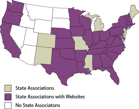 Map displaying state associations, state associations with websites and no state associations